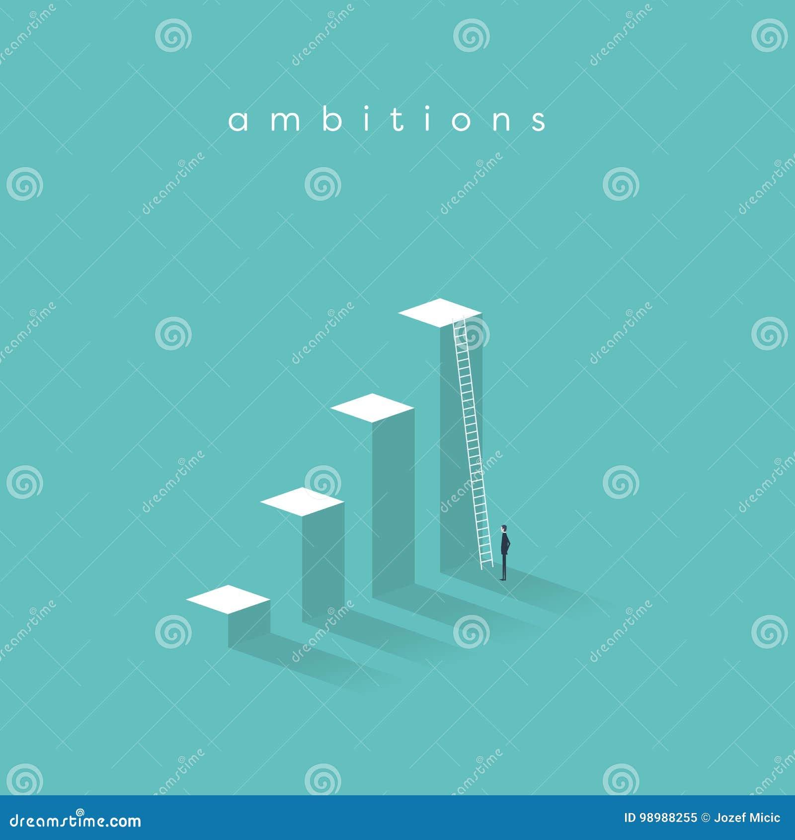 Επιχειρησιακό κίνητρο, προσδιορισμός, επιτυχία, διανυσματική έννοια αύξησης σταδιοδρομίας Επιχειρηματίας που στέκεται μπροστά από