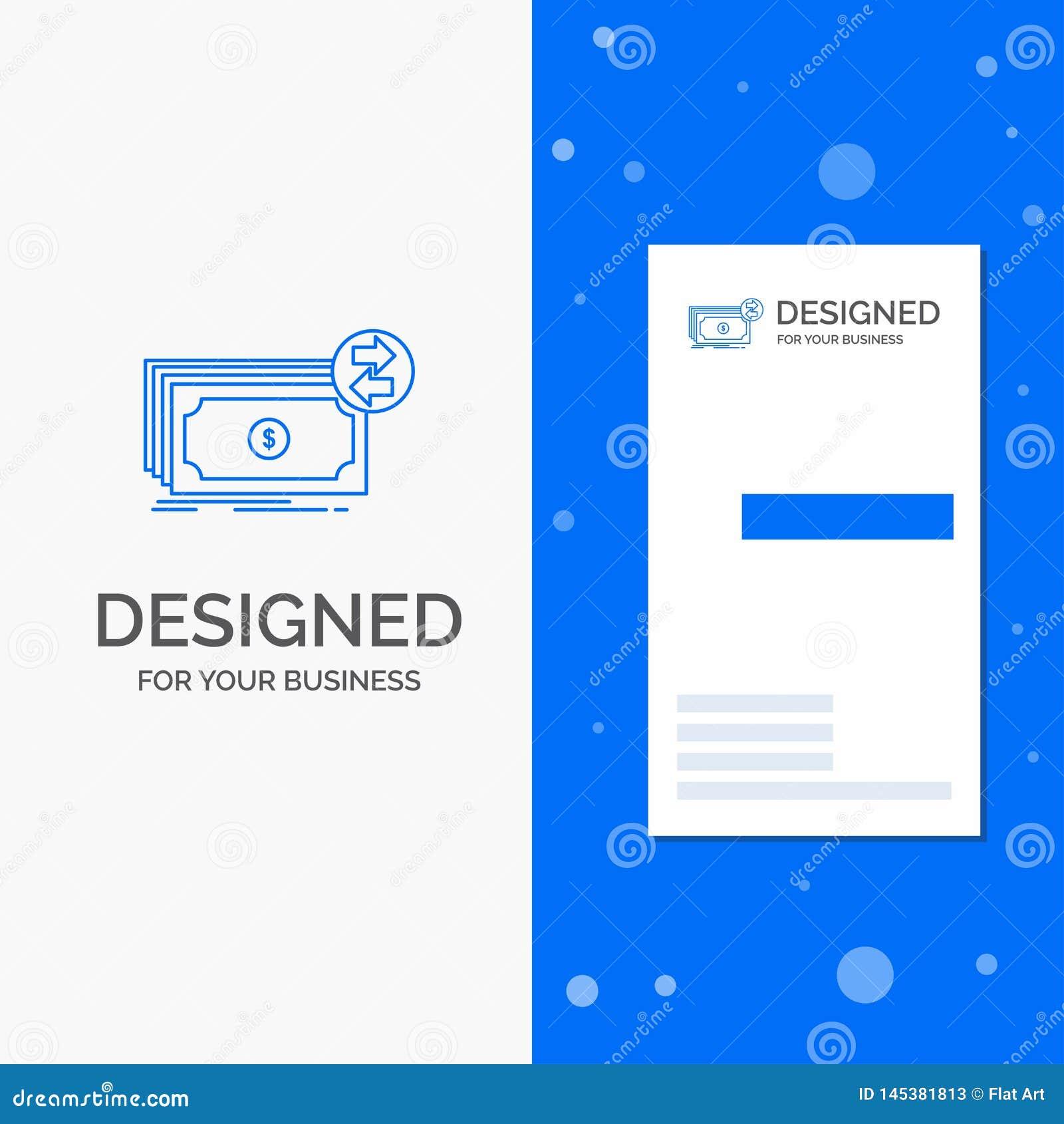 Επιχειρησιακό λογότυπο για τα τραπεζογραμμάτια, μετρητά, δολάρια, ροή, χρήματα Κάθετο μπλε πρότυπο καρτών επιχειρήσεων/επίσκεψης