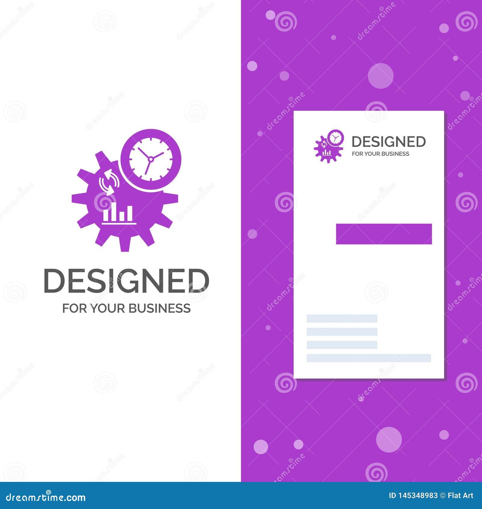 Επιχειρησιακό λογότυπο για την επιχείρηση, εφαρμοσμένη μηχανική, διαχείριση, διαδικασία Κάθετο πορφυρό πρότυπο καρτών επιχειρήσεω