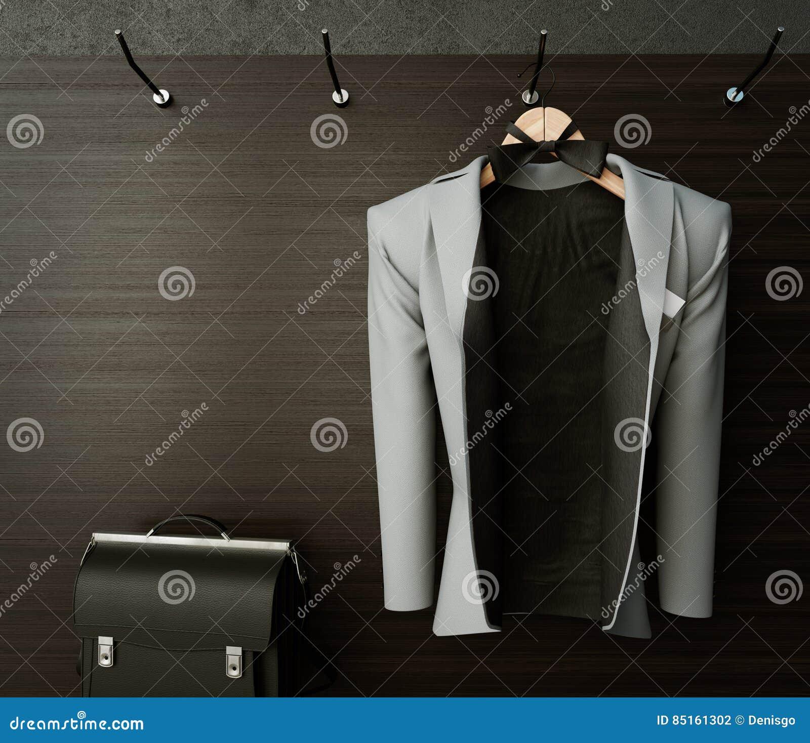 επιχειρησιακό σακάκι στο κατασκευασμένο υπόβαθρο φωτογραφιών έννοιας τοίχων