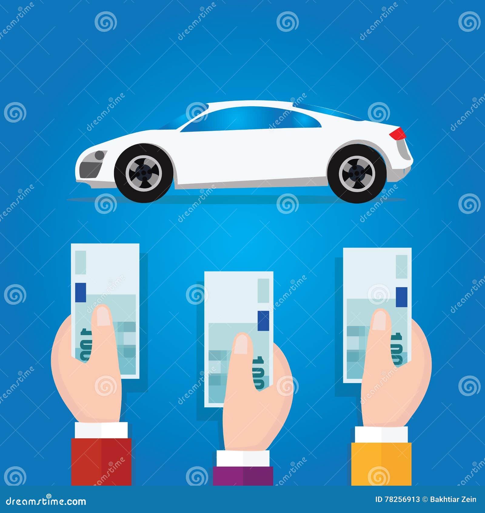 Επιχειρησιακό σύμβολο έννοιας μετρητών χρημάτων προσφοράς χεριών δημοπρασίας προσφοράς αυτοκινήτων