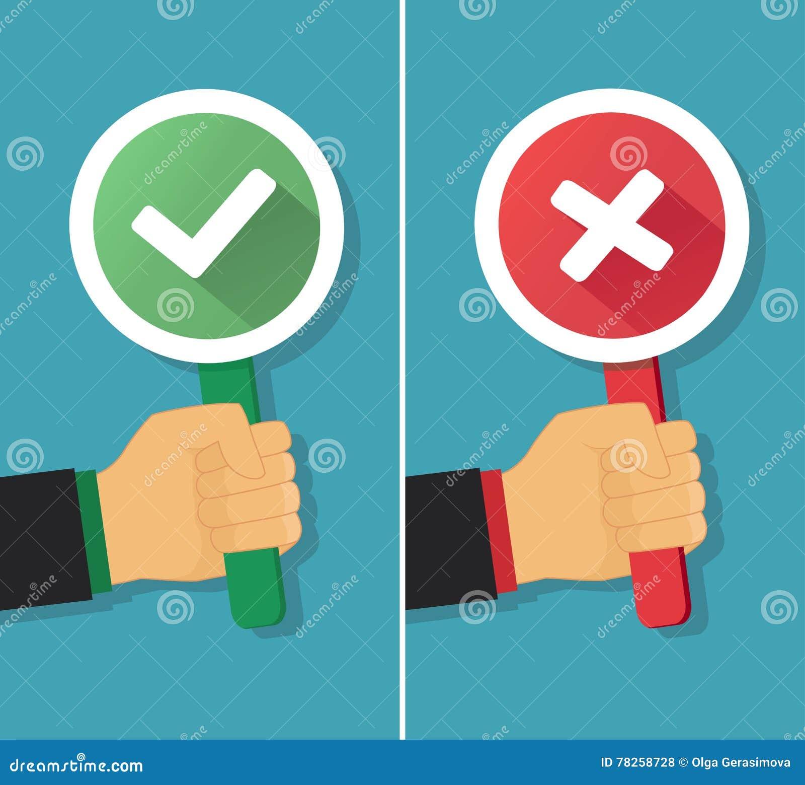 Επιχειρησιακό χέρι με το αληθινό και ψεύτικο σημάδι επίσης corel σύρετε το διάνυσμα απεικόνισης