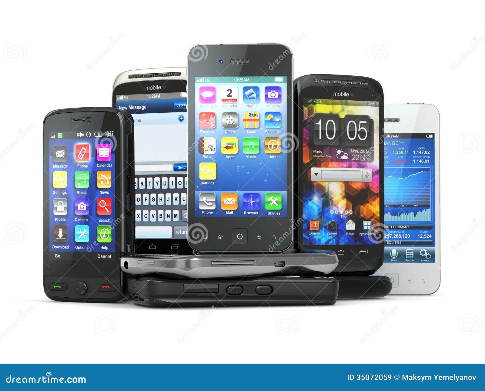 Επιλέξτε το κινητό τηλέφωνο. Σωρός των νέων κινητών τηλεφώνων.