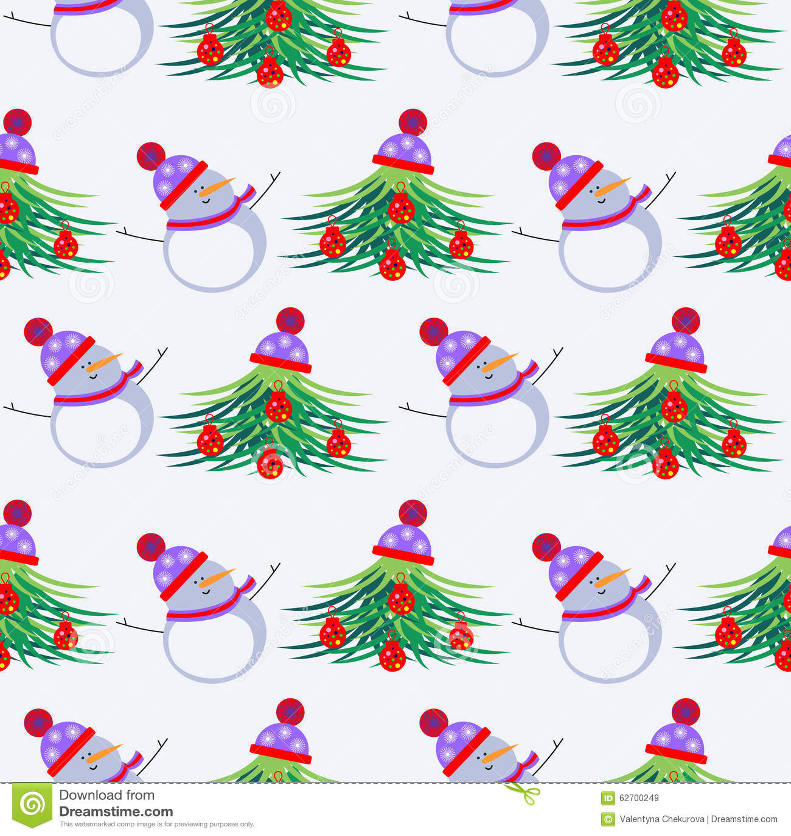 Εποχιακό χειμερινό ελαφρύ υπόβαθρο τους λευκοί χιονανθρώπους και fir-trees, που διακοσμούνται με με τα παιχνίδια Χριστουγέννων κα