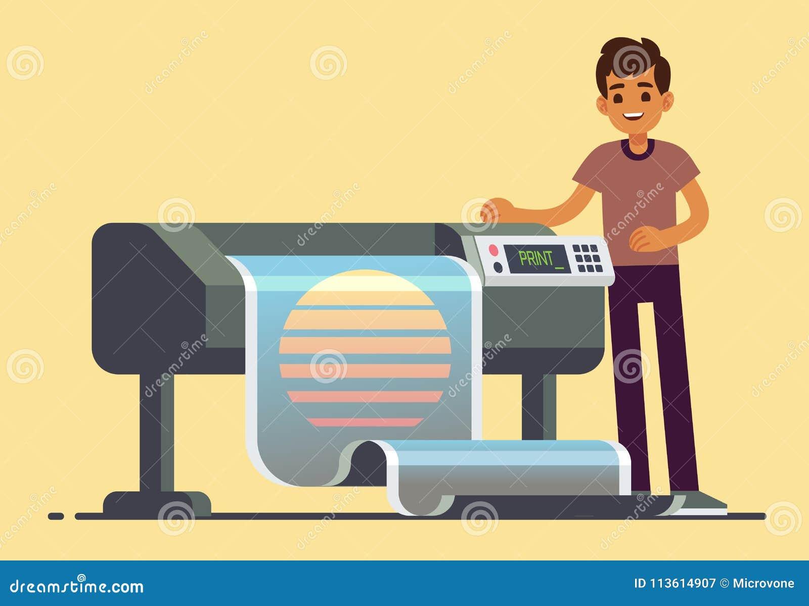 Εργαζόμενος ατόμων στο σχεδιαστή που τυπώνει την ευρεία διανυσματική απεικόνιση εμβλημάτων σχήματος μεγάλη