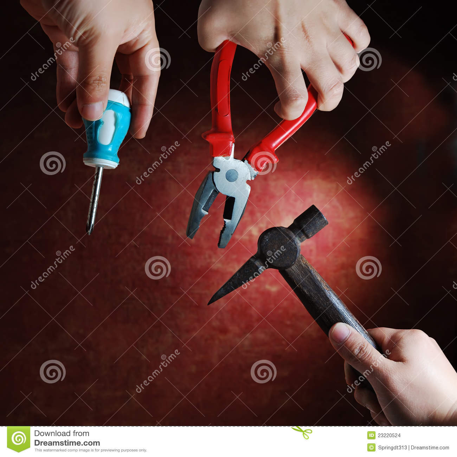 Εργαλεία λαβίδων βιδών χεριών σφυριών