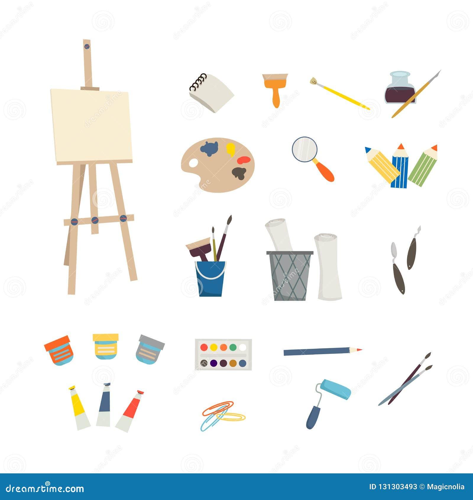 Εργαλεία και easel τέχνης στο άσπρο υπόβαθρο Τέχνη παιδιών και σχολική έννοια σχεδίου Απεικόνιση κινούμενων σχεδίων στο επίπεδο ύ