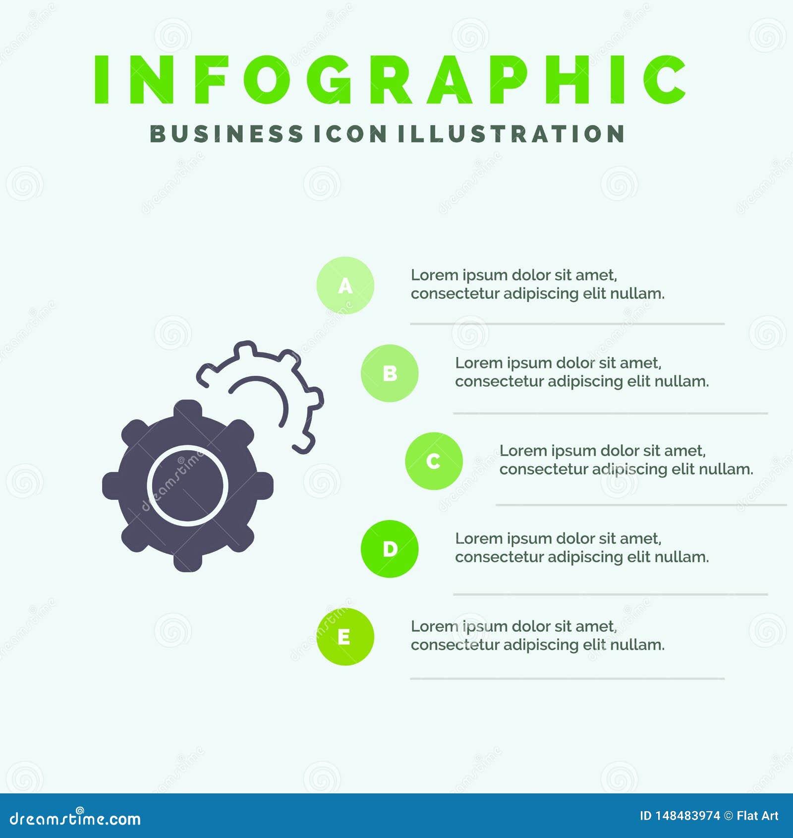 Εργαλείο, εργαλεία, θέτοντας στερεό εικονίδιο Infographics 5 υπόβαθρο παρουσίασης βημάτων