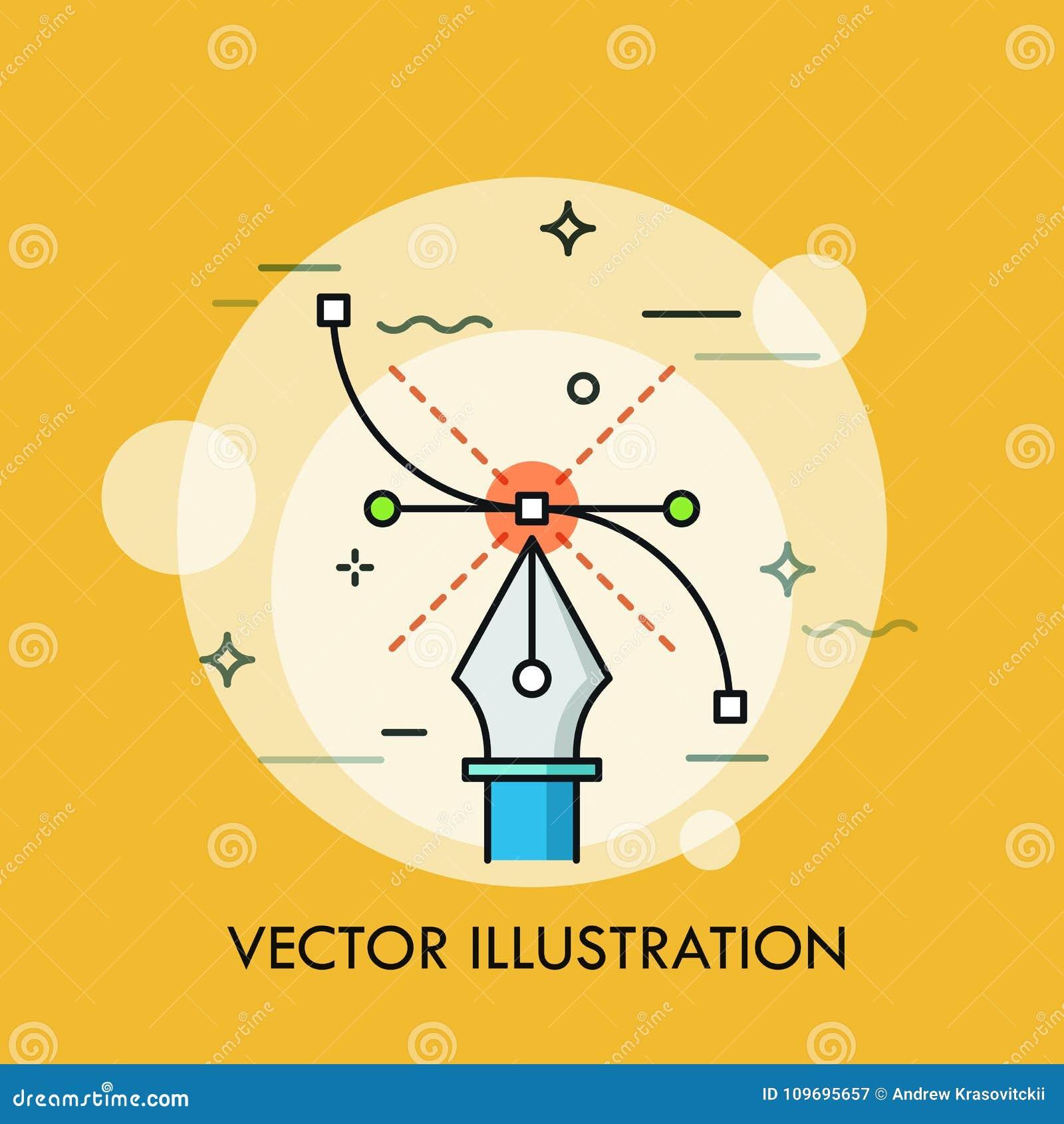 Εργαλείο μανδρών και καμπύλη Bezier Έννοια του σύγχρονου λογισμικού για τη δημιουργία των διανυσματικών απεικονίσεων, γραφικός, τ