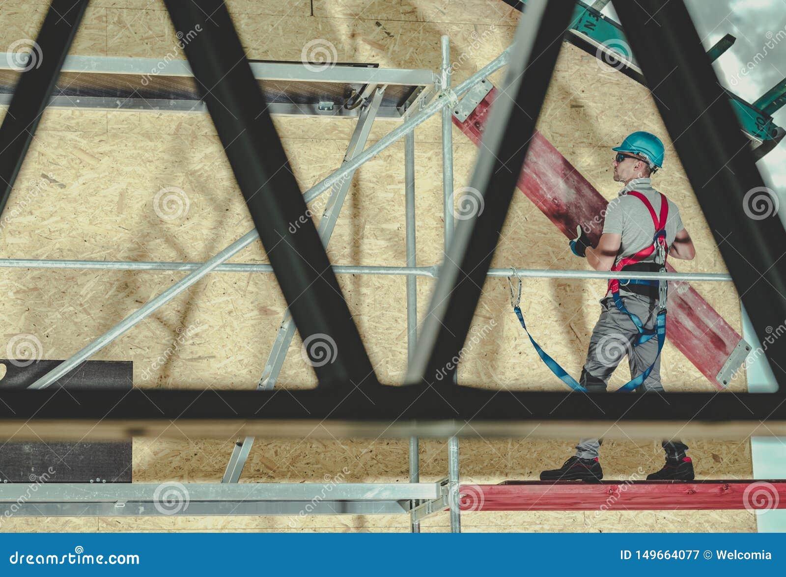Εργασία υλικών σκαλωσιάς κατασκευής
