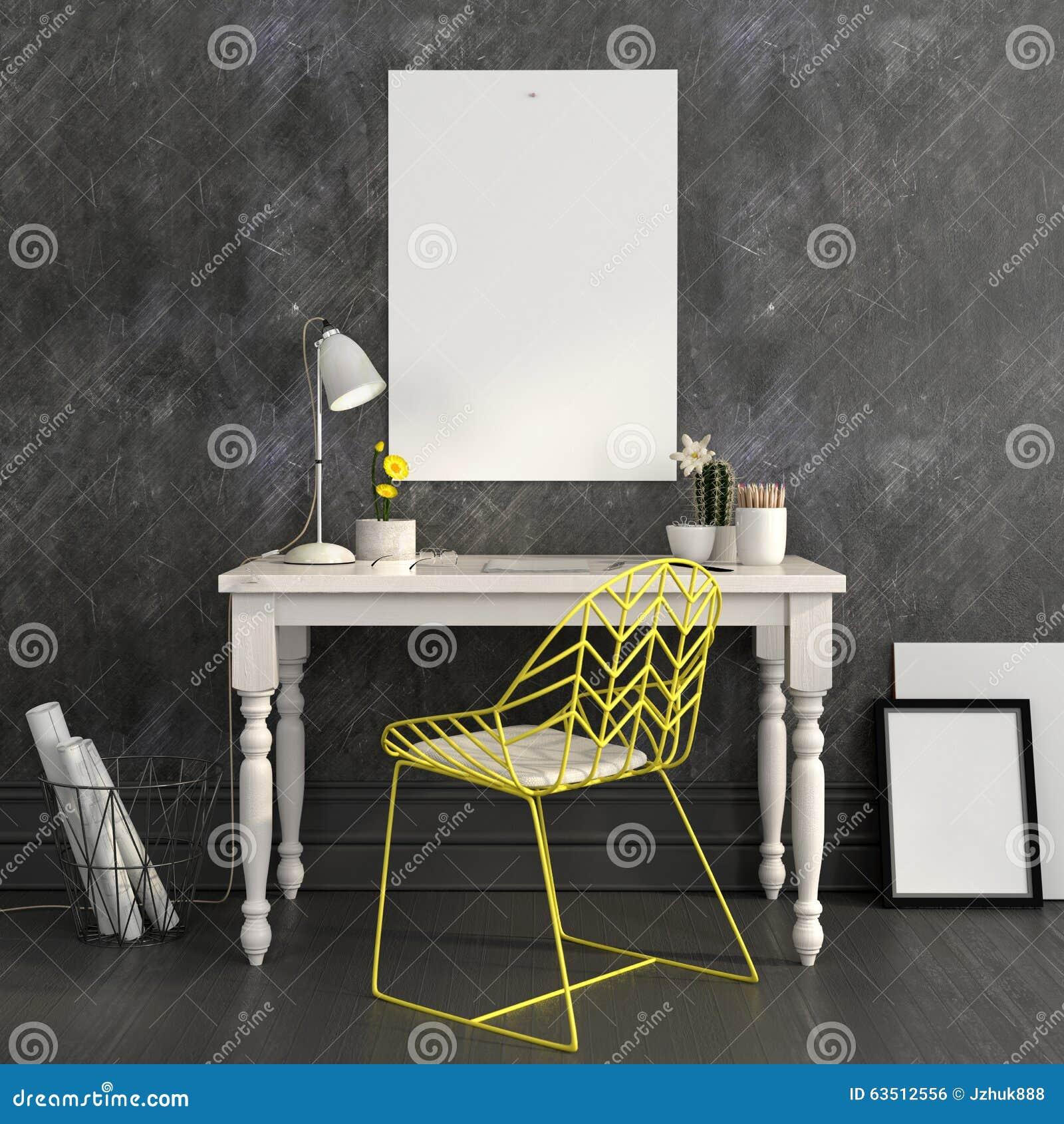 Εργασιακός χώρος με μια φωτεινή κίτρινη καρέκλα και μια χλεύη επάνω