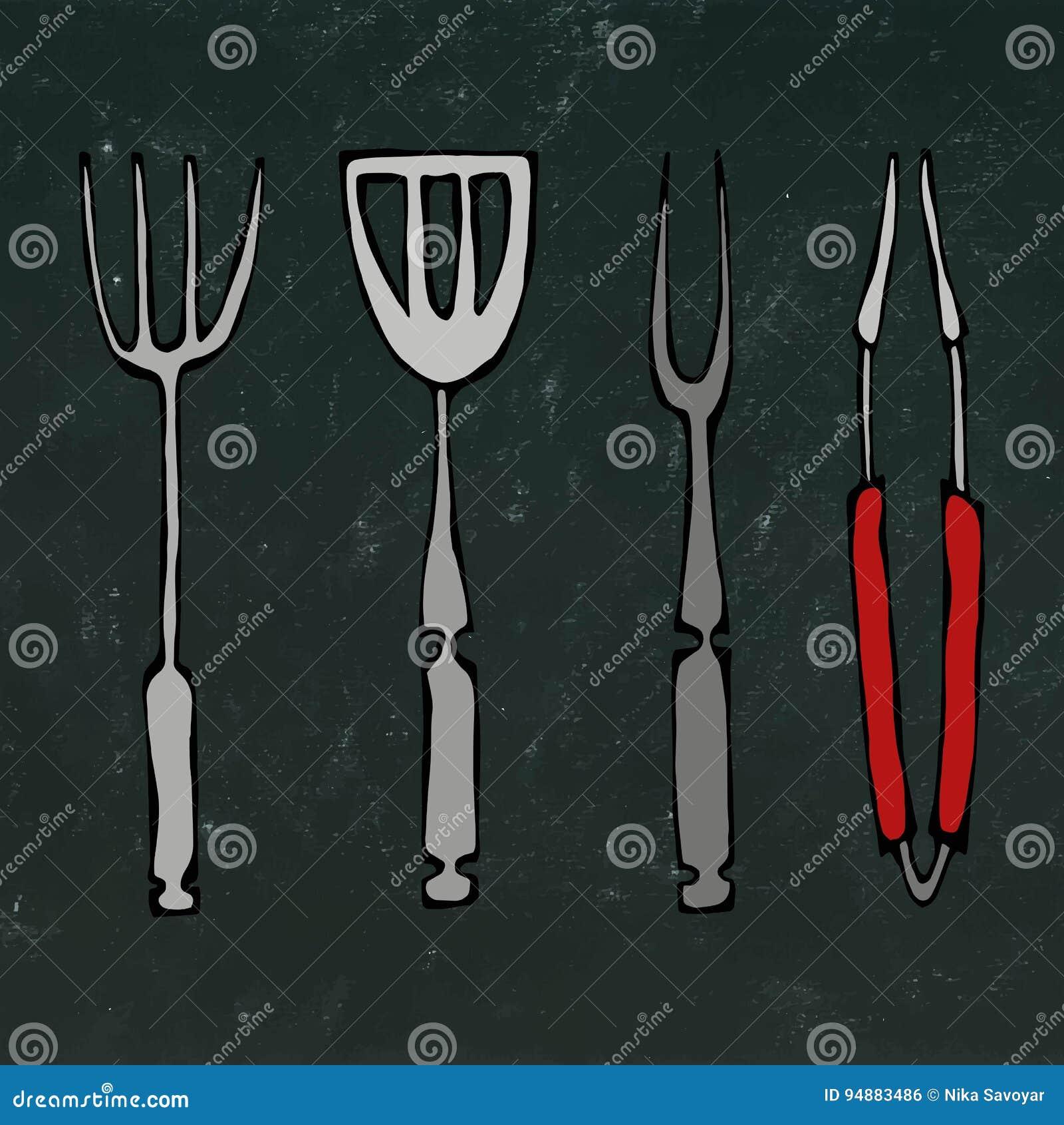 Εργαλεία εξοπλισμού ή σχαρών ψησίματος Λαβίδες για BBQ, το δίκρανο και Spatula Απομονωμένος σε ένα μαύρο υπόβαθρο πινάκων κιμωλία