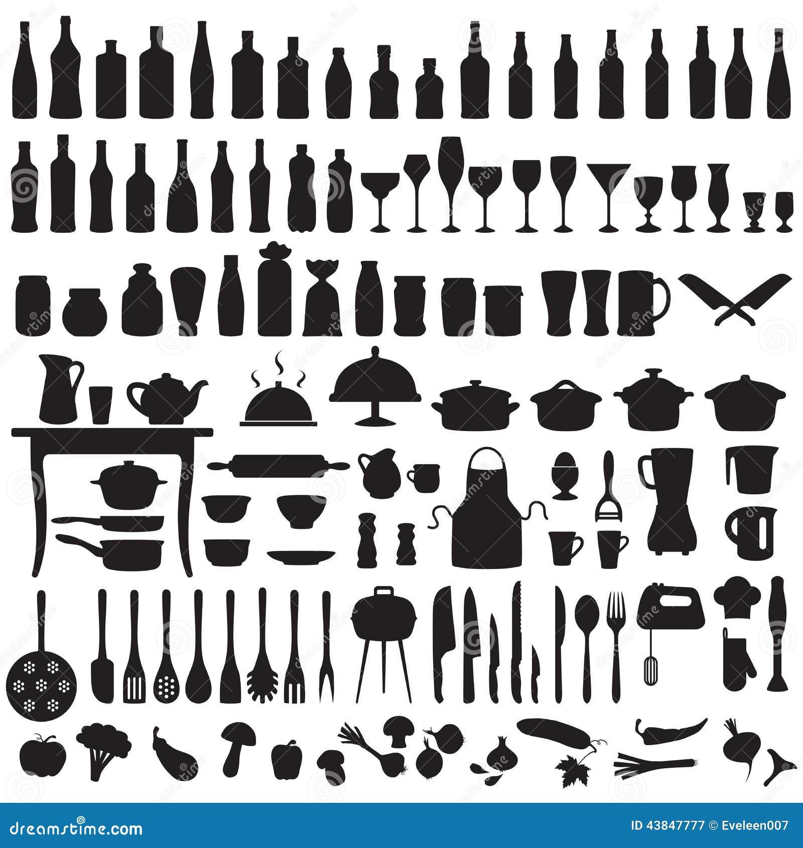 Εργαλεία κουζινών, μαγειρεύοντας εικονίδια