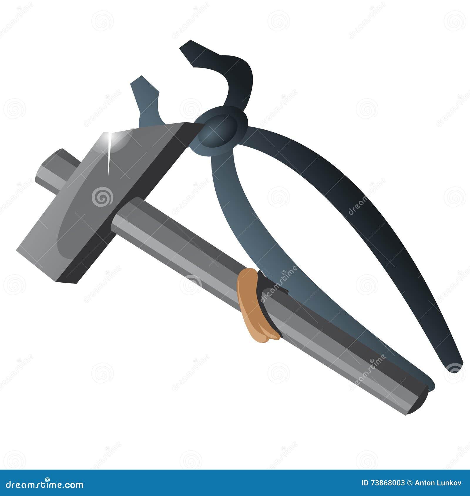 Εργαλείο εργασίας δύο, λαβίδες και σφυρί που απομονώνονται