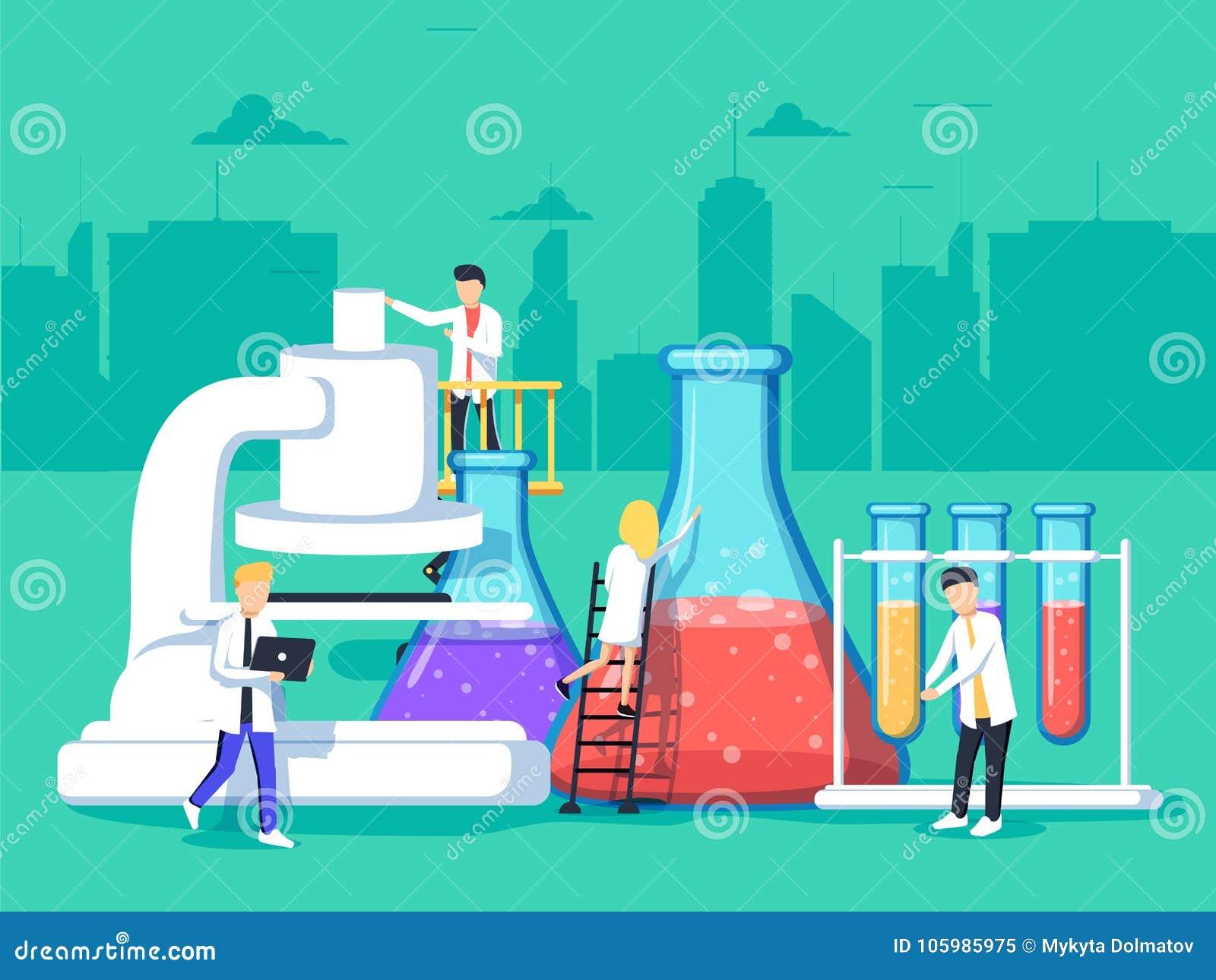 Ερευνητές στο εργαστήριο, αναλύουν ένα δείγμα χρησιμοποιώντας ένα μικροσκόπιο και ελέγχοντας τους σωλήνες δοκιμής