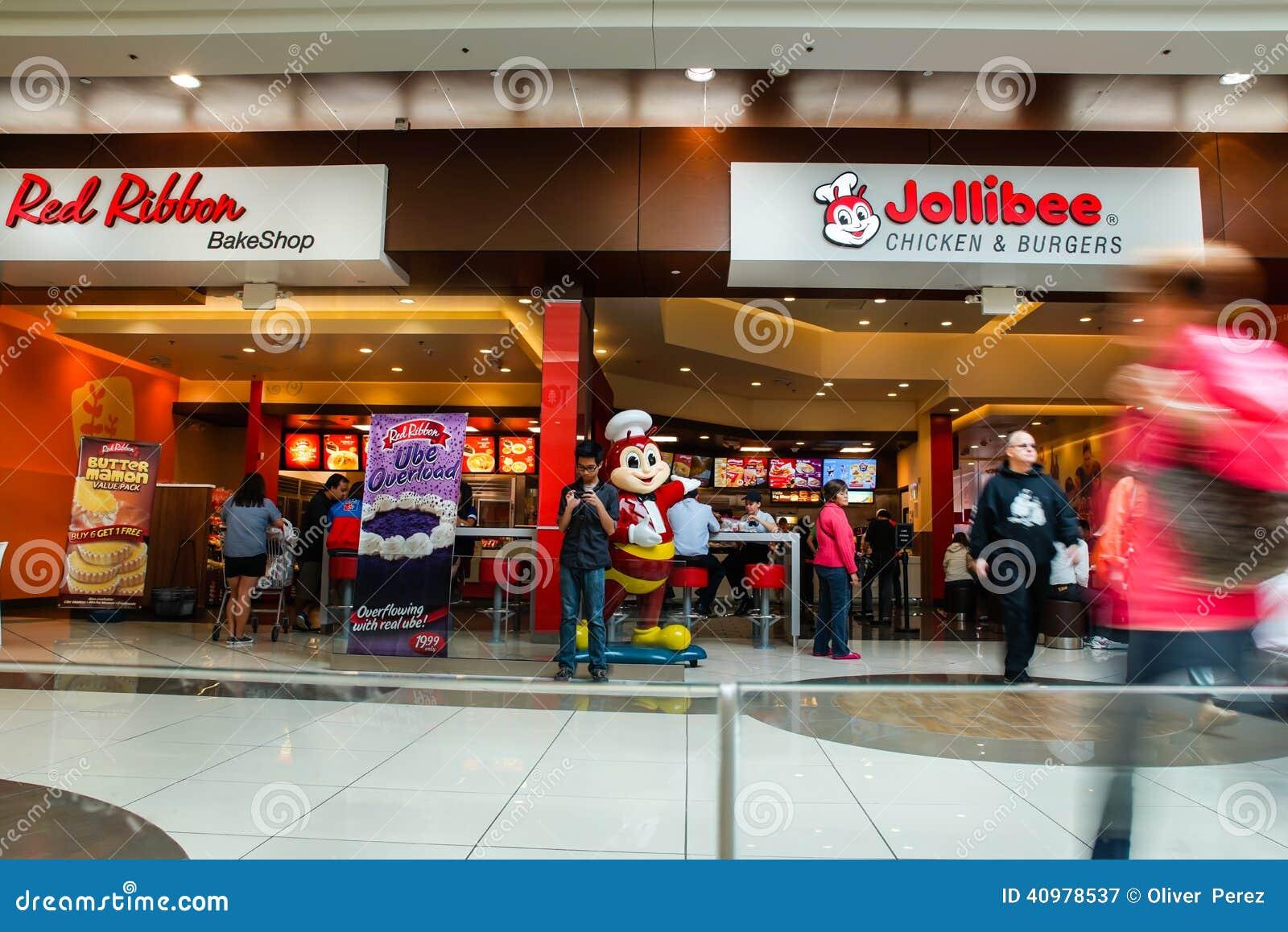 Εστιατόριο Jollibee και κόκκινη κορδέλλα bakeshop με τους πελάτες