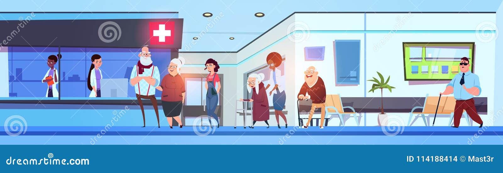 Εσωτερικοί ασθενείς και γιατροί αιθουσών νοσοκομείων στο οριζόντιο έμβλημα αίθουσας αναμονής κλινικών