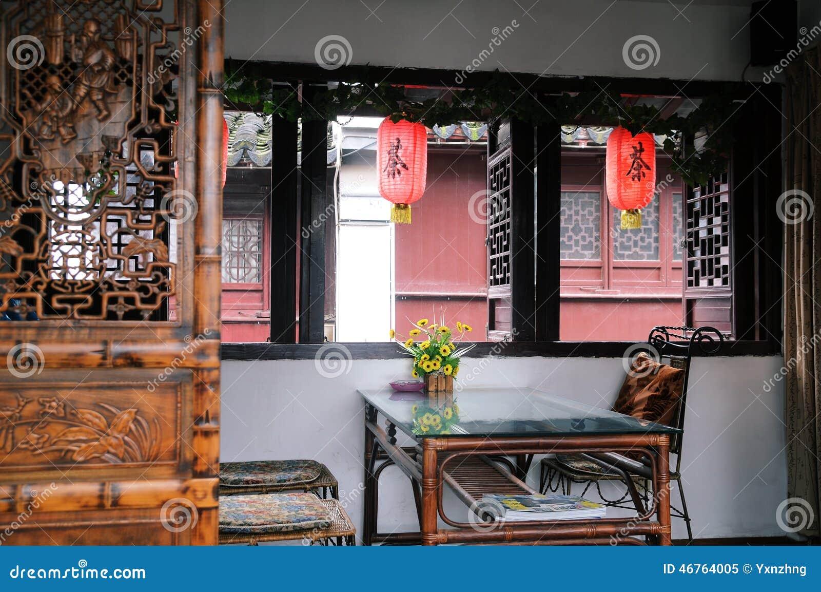 Εσωτερικός ενός κινεζικού σπιτιού τσαγιού