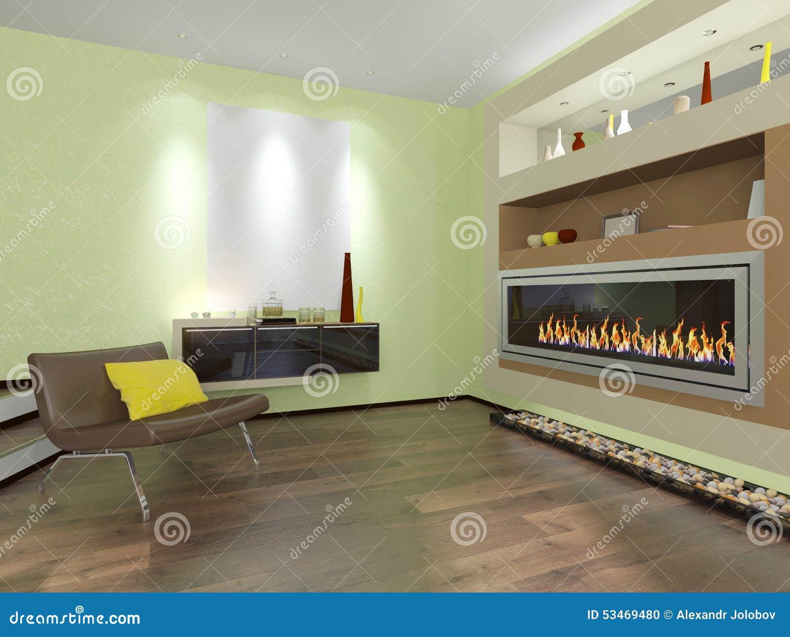 Εσωτερικό με την πολυθρόνα και την εστία