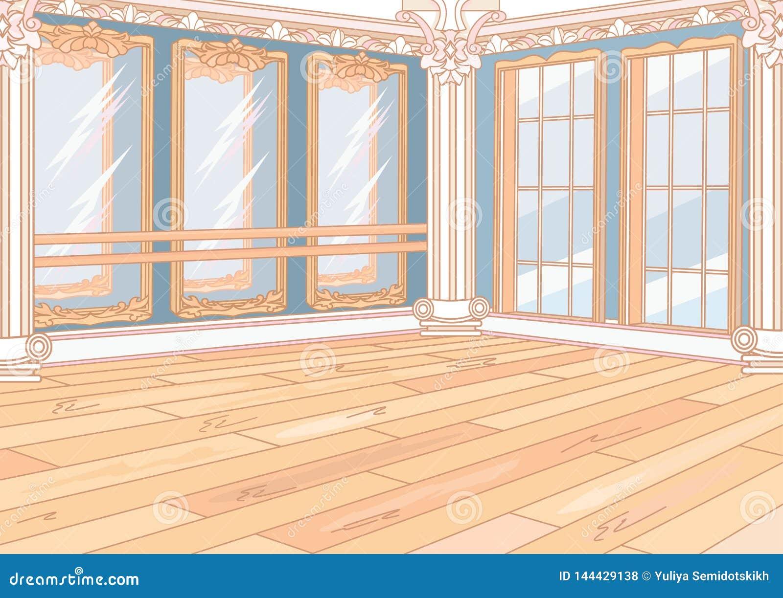 Εσωτερικό στούντιο μπαλέτου με τους καθρέφτες