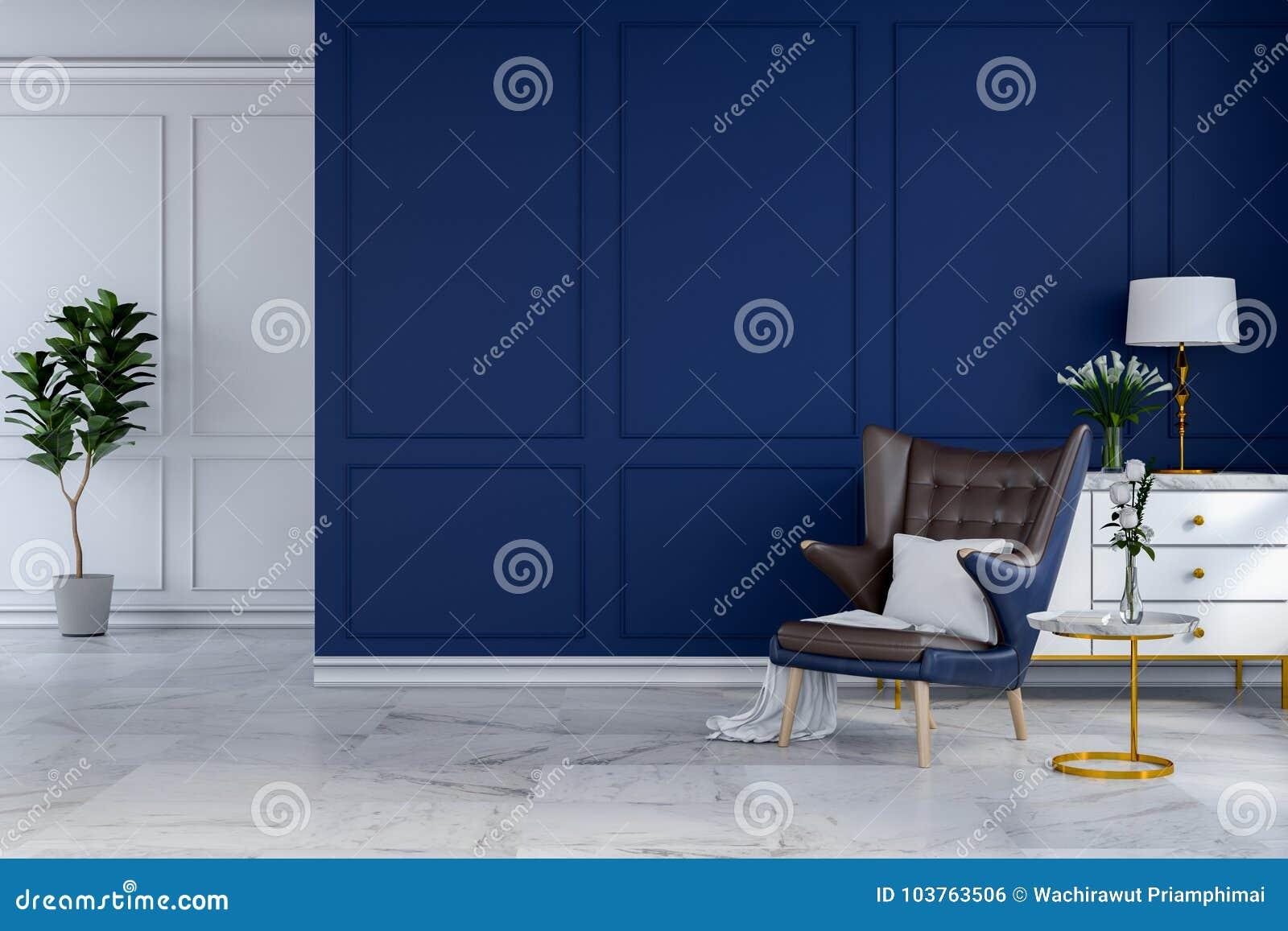 Εσωτερικό σχέδιο δωματίων πολυτέλειας το σύγχρονο, η μπλε καρέκλα σαλονιών με τον άσπρο λαμπτήρα και ο άσπρος μπουφές στον μπλε τ