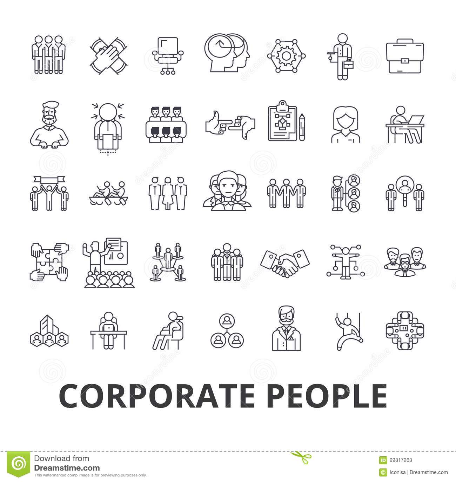 Εταιρικοί άνθρωποι, εταιρική ταυτότητα, επιχείρηση, τραίνο, εταιρικό γεγονός, εικονίδια γραμμών γραφείων Κτυπήματα Editable Επίπε