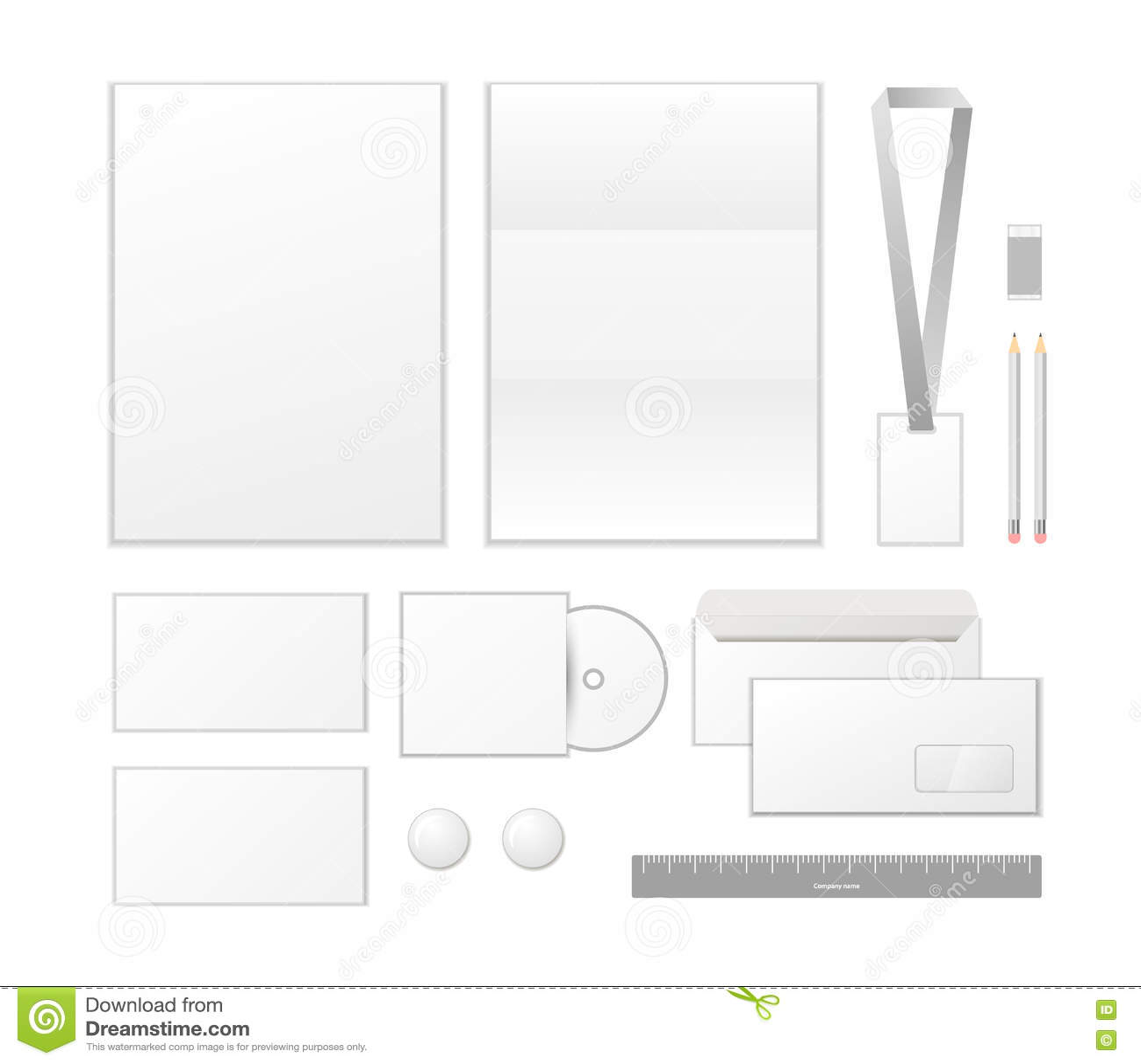 Εταιρικό σχέδιο προτύπων ταυτότητας Επιχειρησιακά καθορισμένα χαρτικά στο λευκό