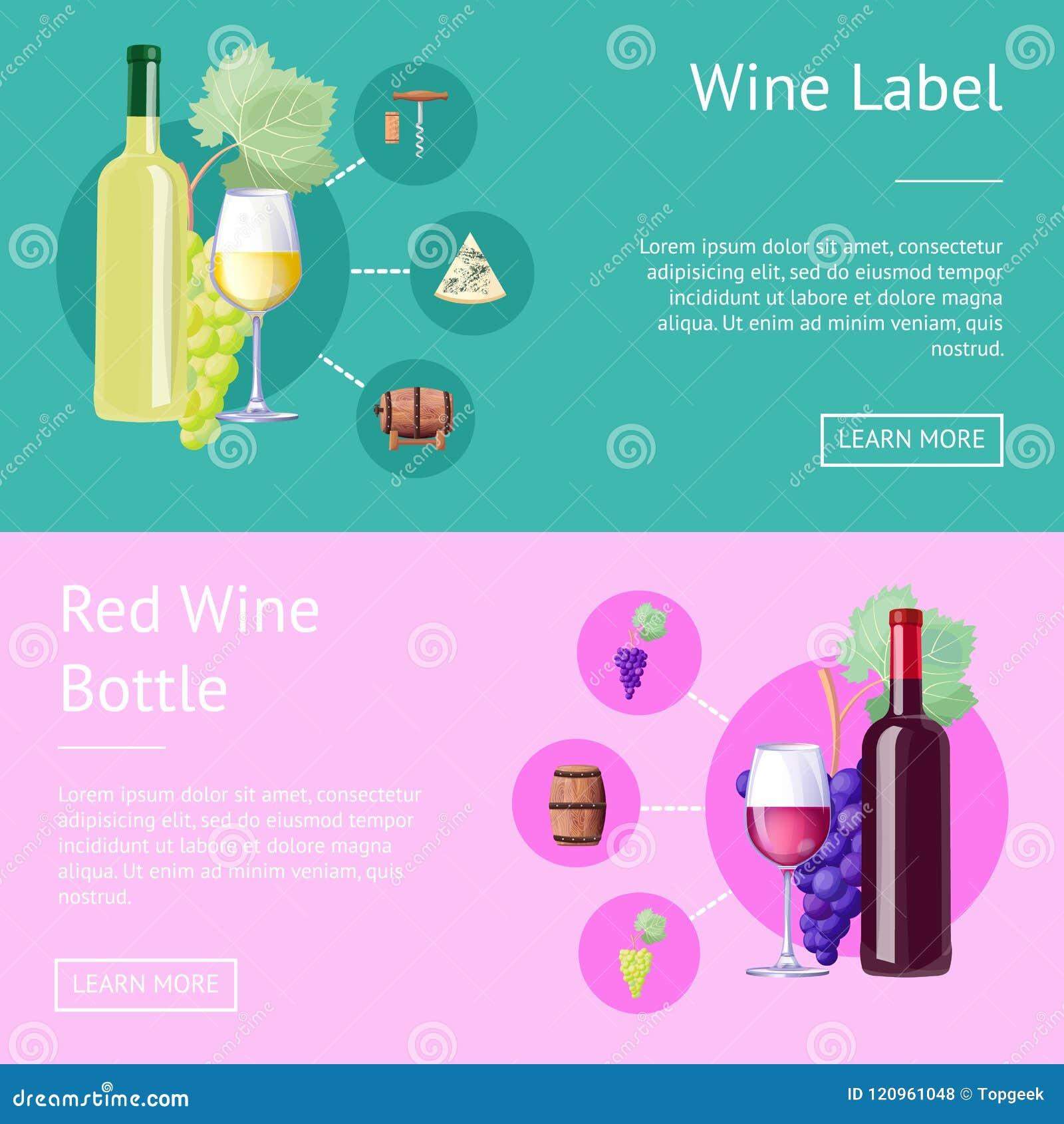 Ετικέτα κρασιού και μπουκάλι των κόκκινων εμβλημάτων Διαδικτύου