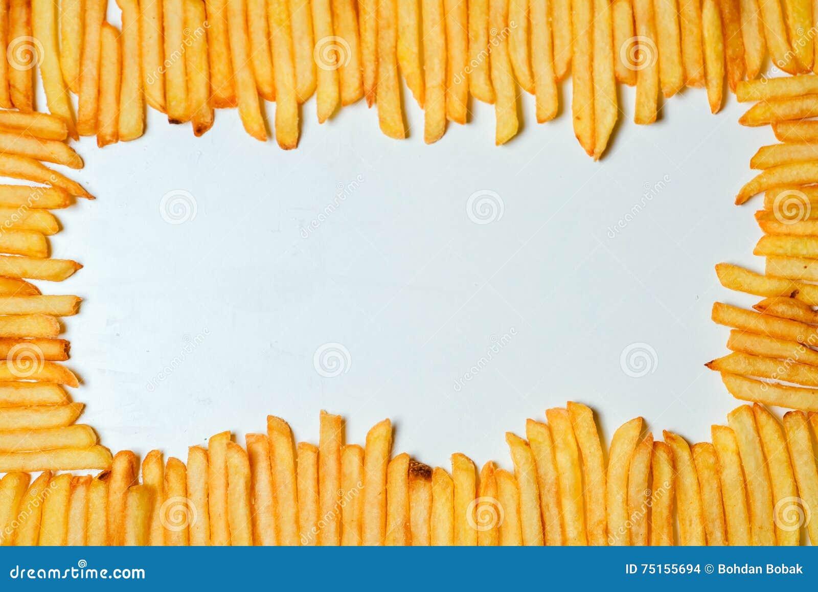 λευκό σειράς παλιοπραγμάτων εικόνας τηγανιτών πατατών τροφίμων ανασκόπησης