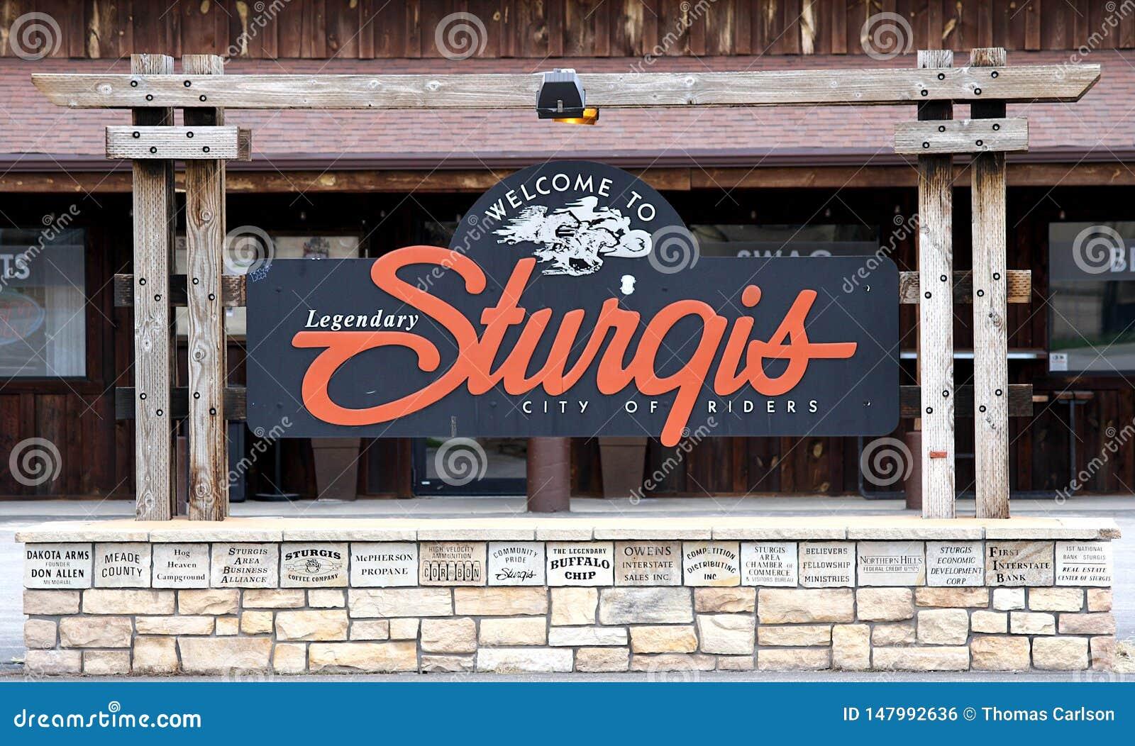 Ευπρόσδεκτο σημάδι Sturgis, νότια Ντακότα