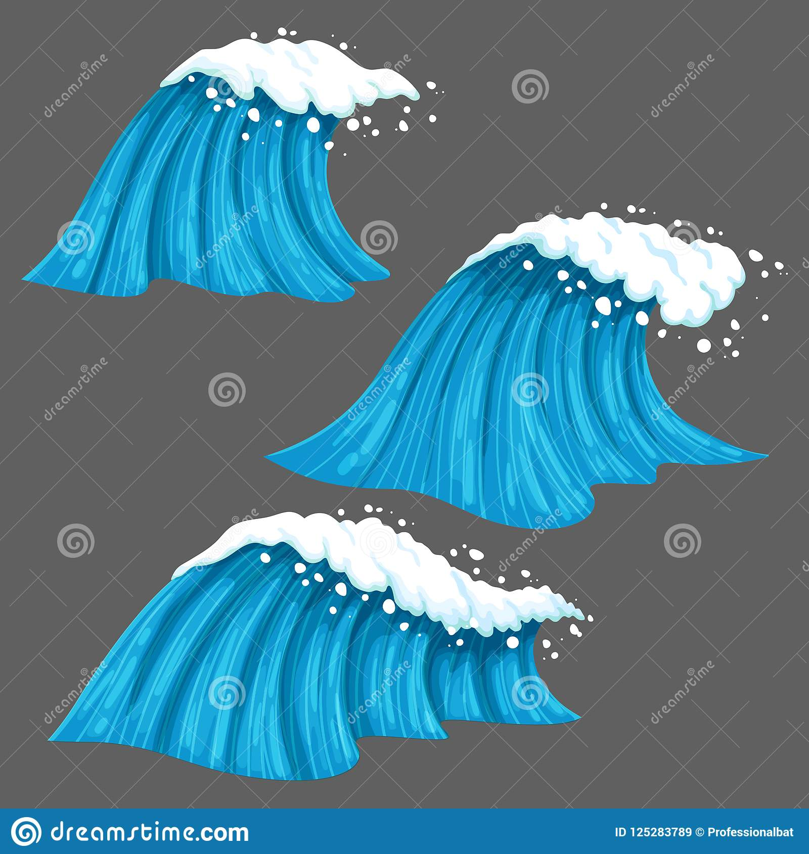 Ευρέα και στενά ζωηρόχρωμα κύματα με απομονωμένος στο γκρίζο υπόβαθρο