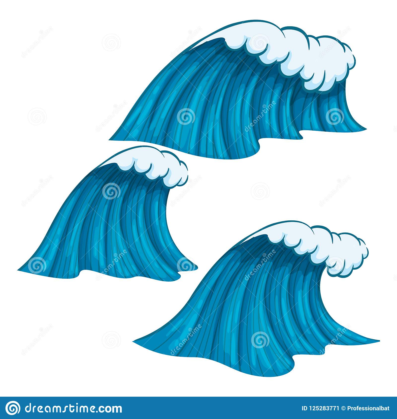 Ευρέα και στενά ζωηρόχρωμα κύματα με την περίληψη που απομονώνεται στο άσπρο υπόβαθρο