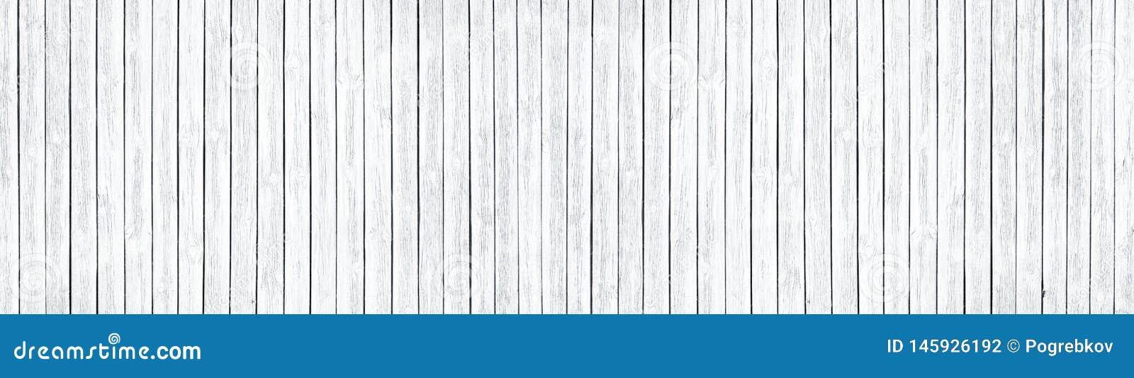 Ευρέως άσπρη παλαιά με κόμπους ξύλινη σύσταση Ασπρισμένοι ξύλινοι πίνακες Shabby κομψό πανοραμικό υπόβαθρο