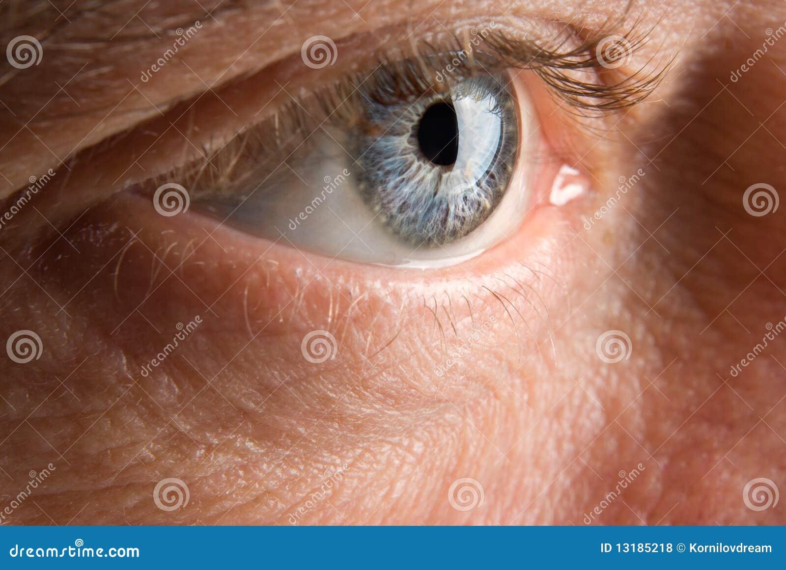 Ευρέως ανοικτό ηλικιωμένο ανθρώπινο μάτι