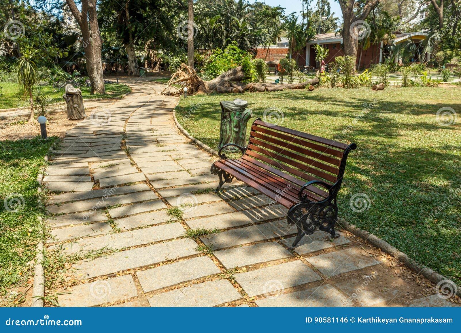 Ευρεία άποψη του πράσινου κήπου με τη χλόη, τα δέντρα, τις εγκαταστάσεις, τις σκιές και τη διάβαση, Chennai, nadu του Ταμίλ, Ινδί
