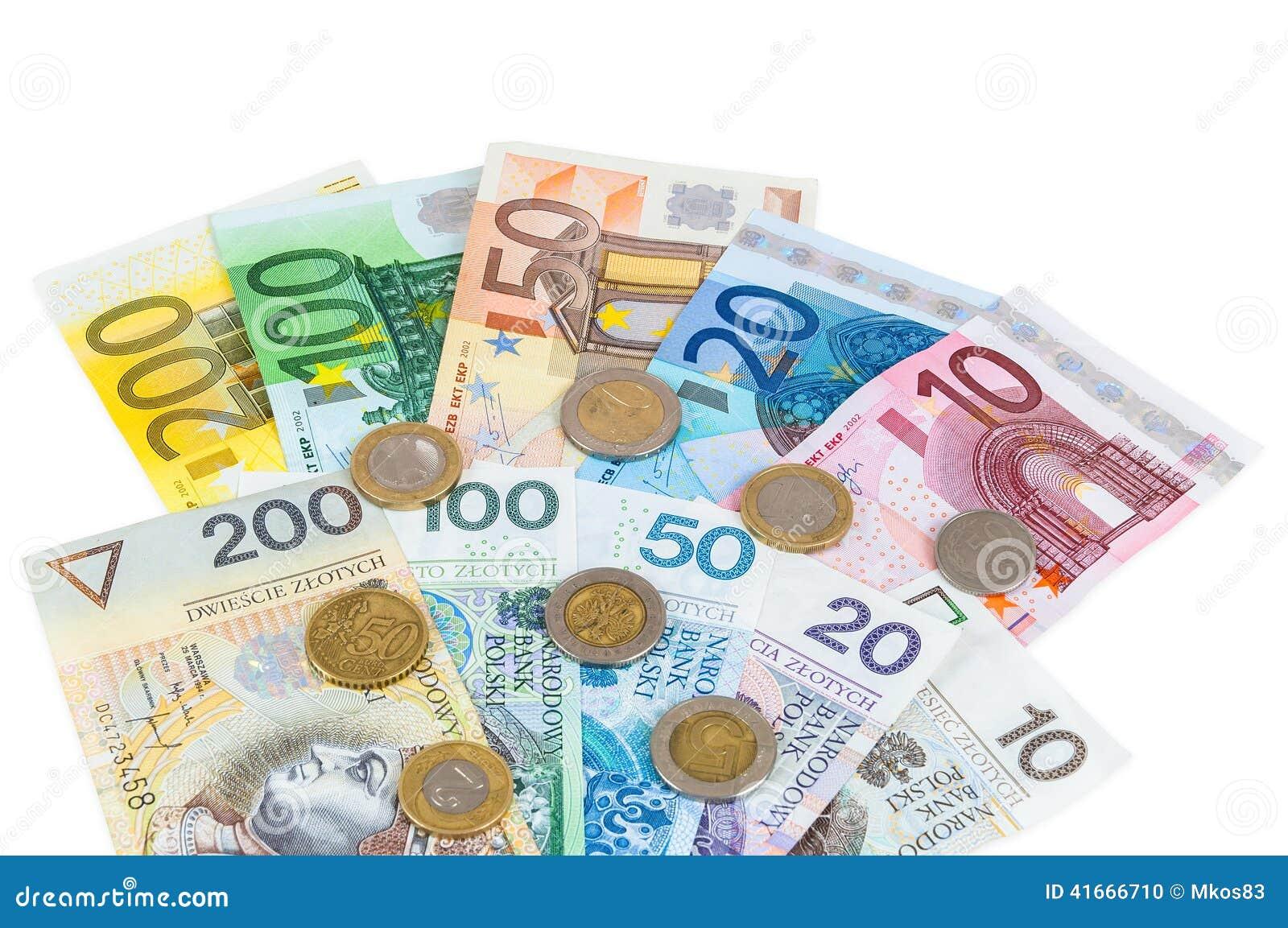 Ευρο- και νέα zloty τραπεζογραμμάτια στιλβωτικής ουσίας με τα νομίσματα