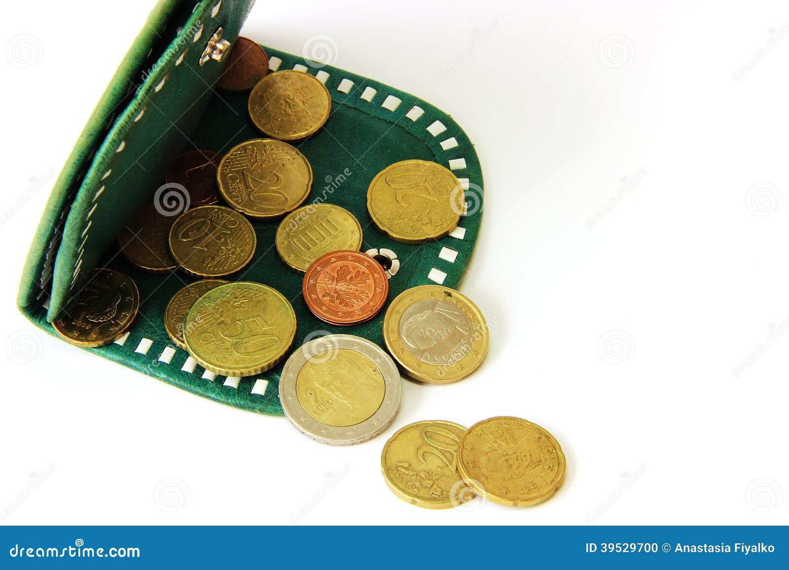 Ευρο- σεντ και πράσινο πορτοφόλι