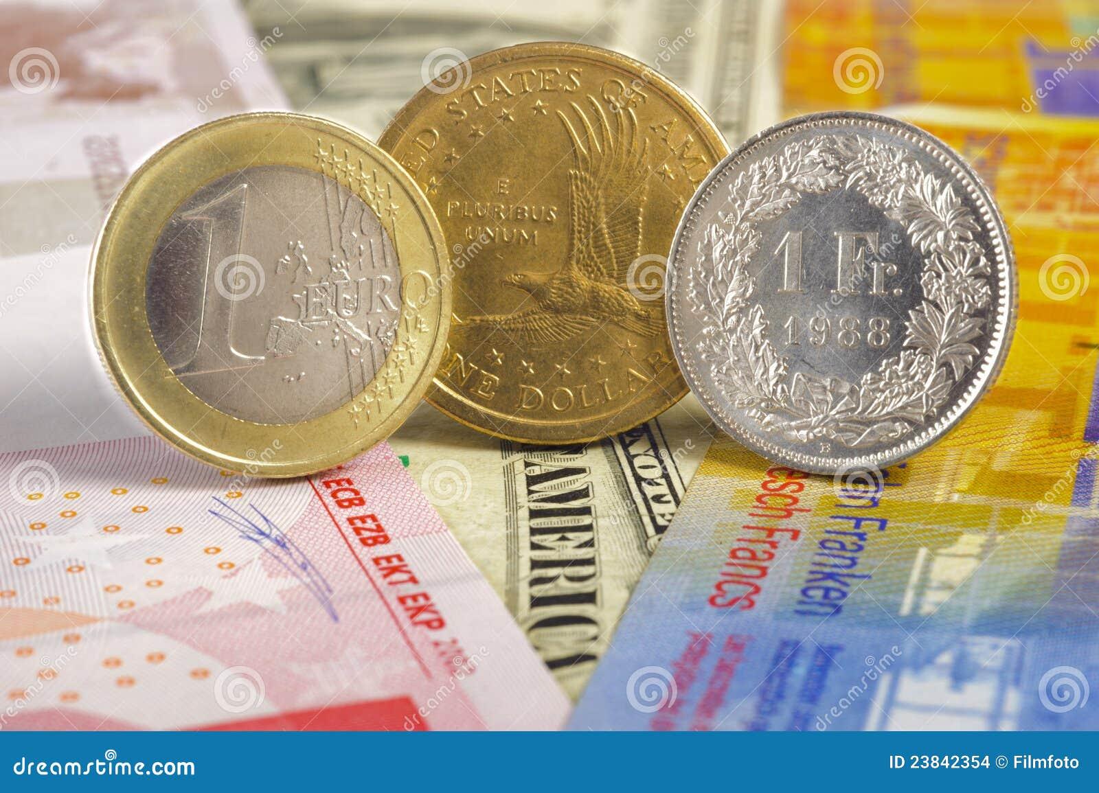 ευρο- φράγκο δολαρίων νομισμάτων