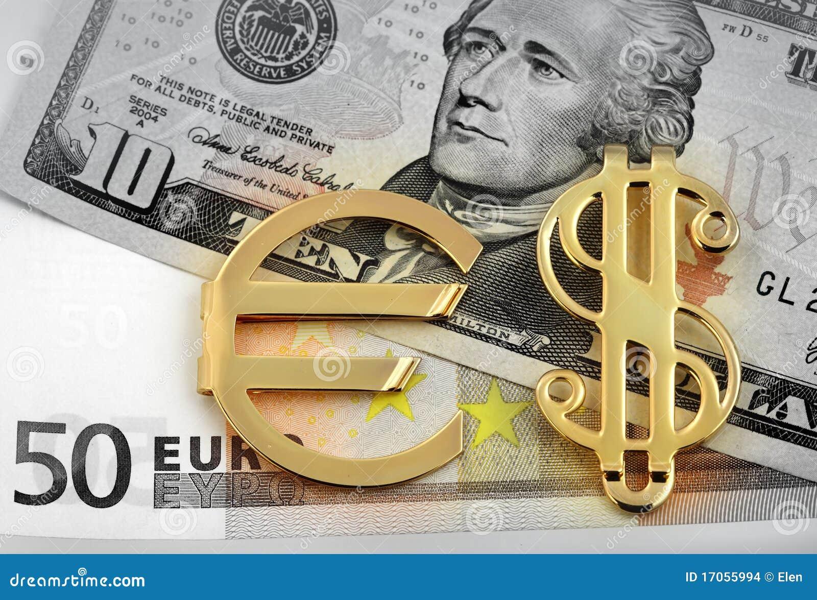ευρο- χρυσό σημάδι δολαρί