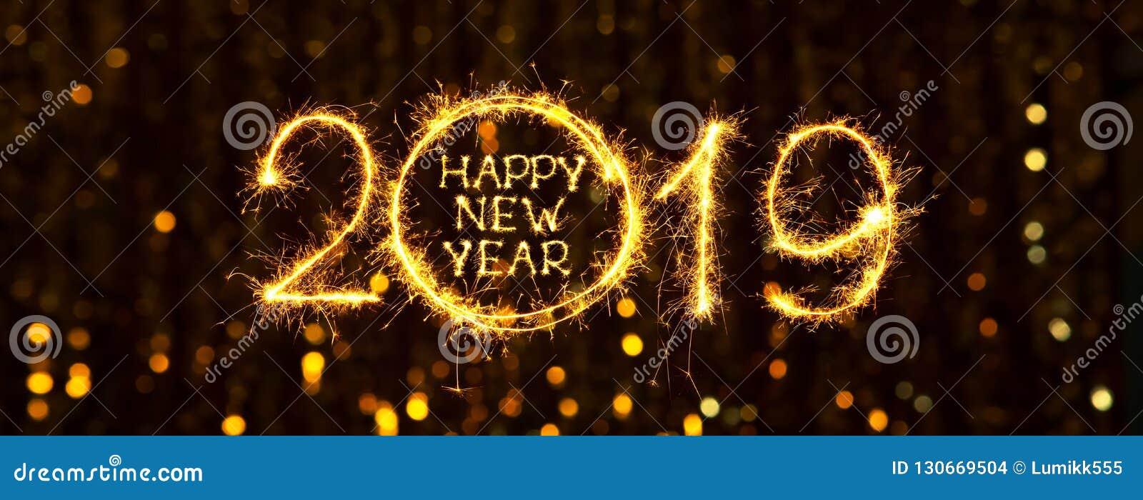 Ευρύ έμβλημα καλή χρονιά 2019 Ιστού διακοπών γωνίας