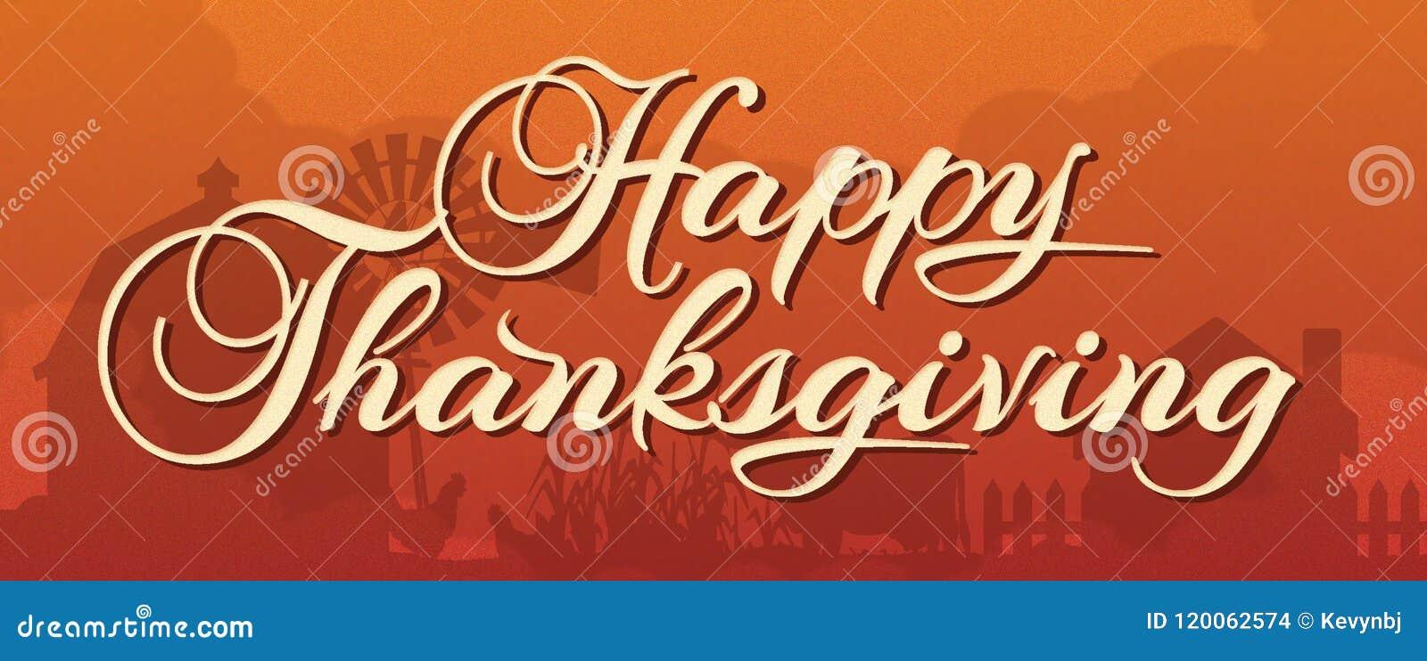 Ευτυχές έμβλημα ημέρας των ευχαριστιών με την αγροτική σκηνή