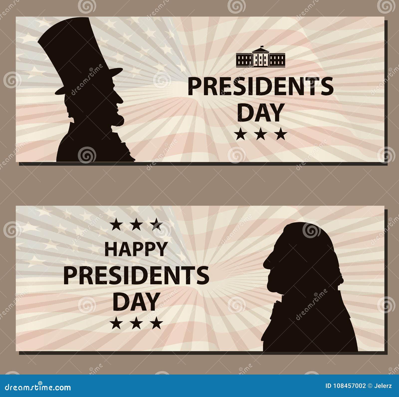 Ευτυχές έμβλημα Προέδρων Day Vintage George Washington και σκιαγραφίες του Abraham Lincoln με τη σημαία ως υπόβαθρο
