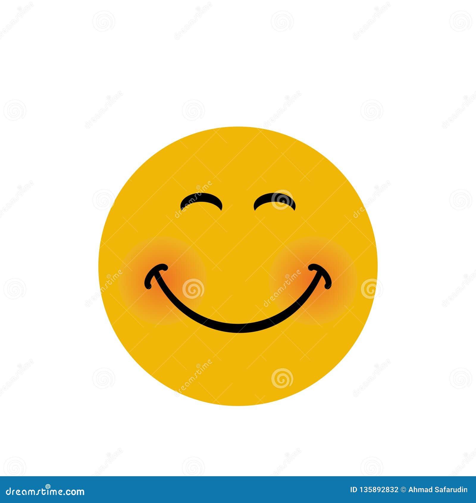 Ευτυχές έμβλημα προσώπου με τη διανυσματική απεικόνιση έκφρασης χαμόγελου