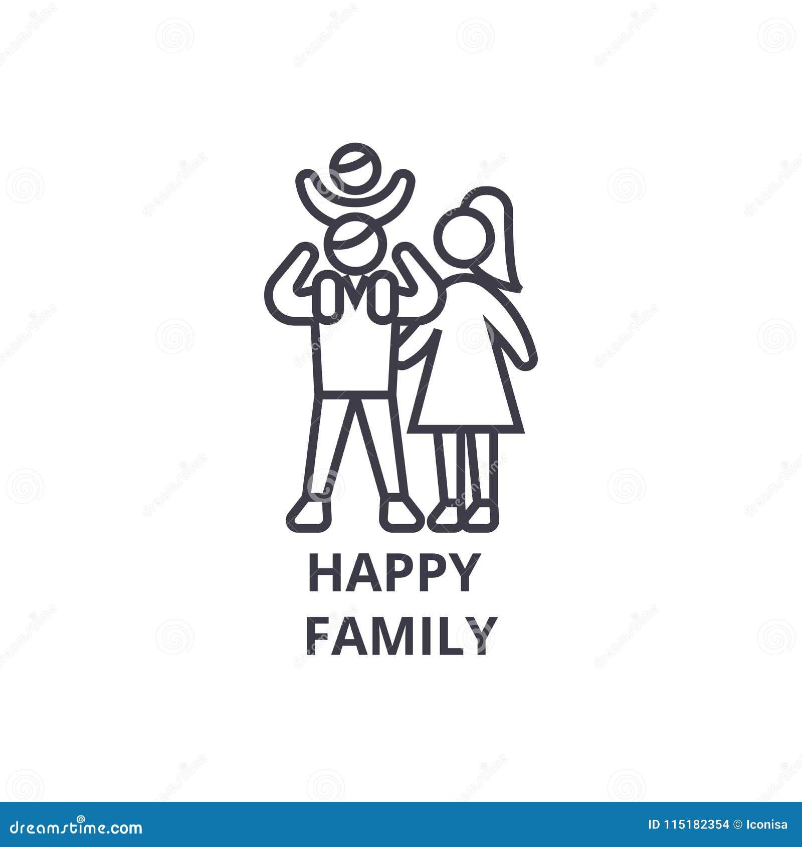 Ευτυχές εικονίδιο οικογενειακών λεπτό γραμμών, σημάδι, σύμβολο, illustation, γραμμική έννοια, διάνυσμα