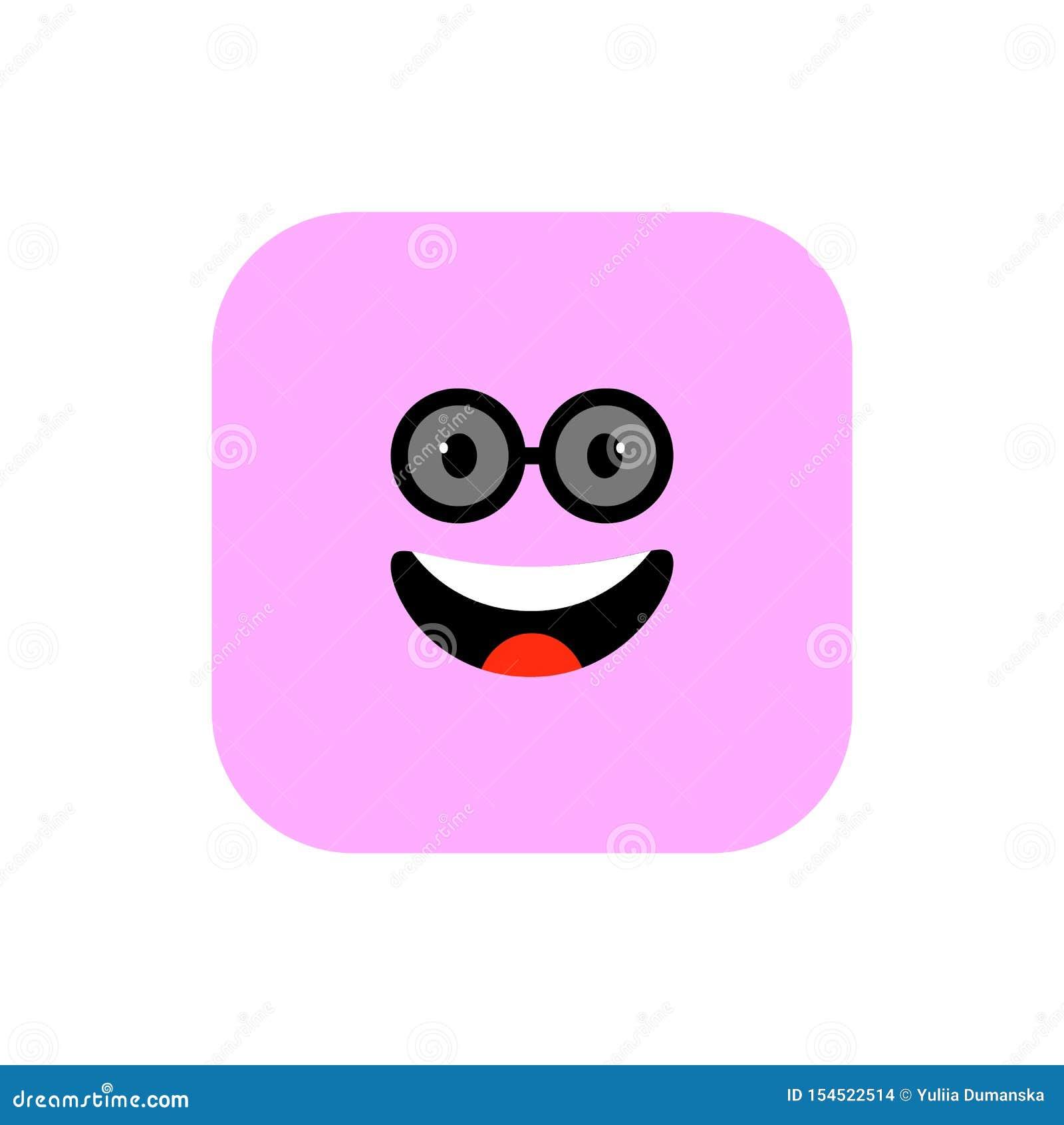 Ευτυχές επίπεδο ύφος εικονιδίων Emoji Χαριτωμένο στρογγυλευμένο Emoticon τετράγωνο στην ημέρα παγκόσμιου χαμόγελου Εύθυμος, Lol,