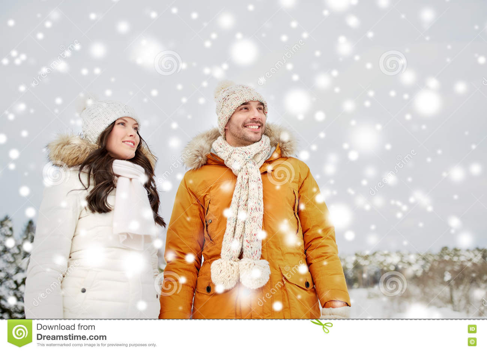 Ευτυχές ζεύγος που περπατά πέρα από το χειμερινό υπόβαθρο