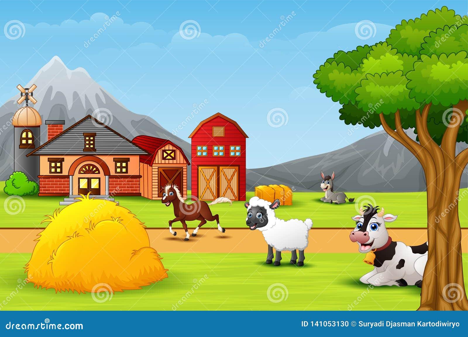 Ευτυχές ζώο αγροκτημάτων στην αυλή