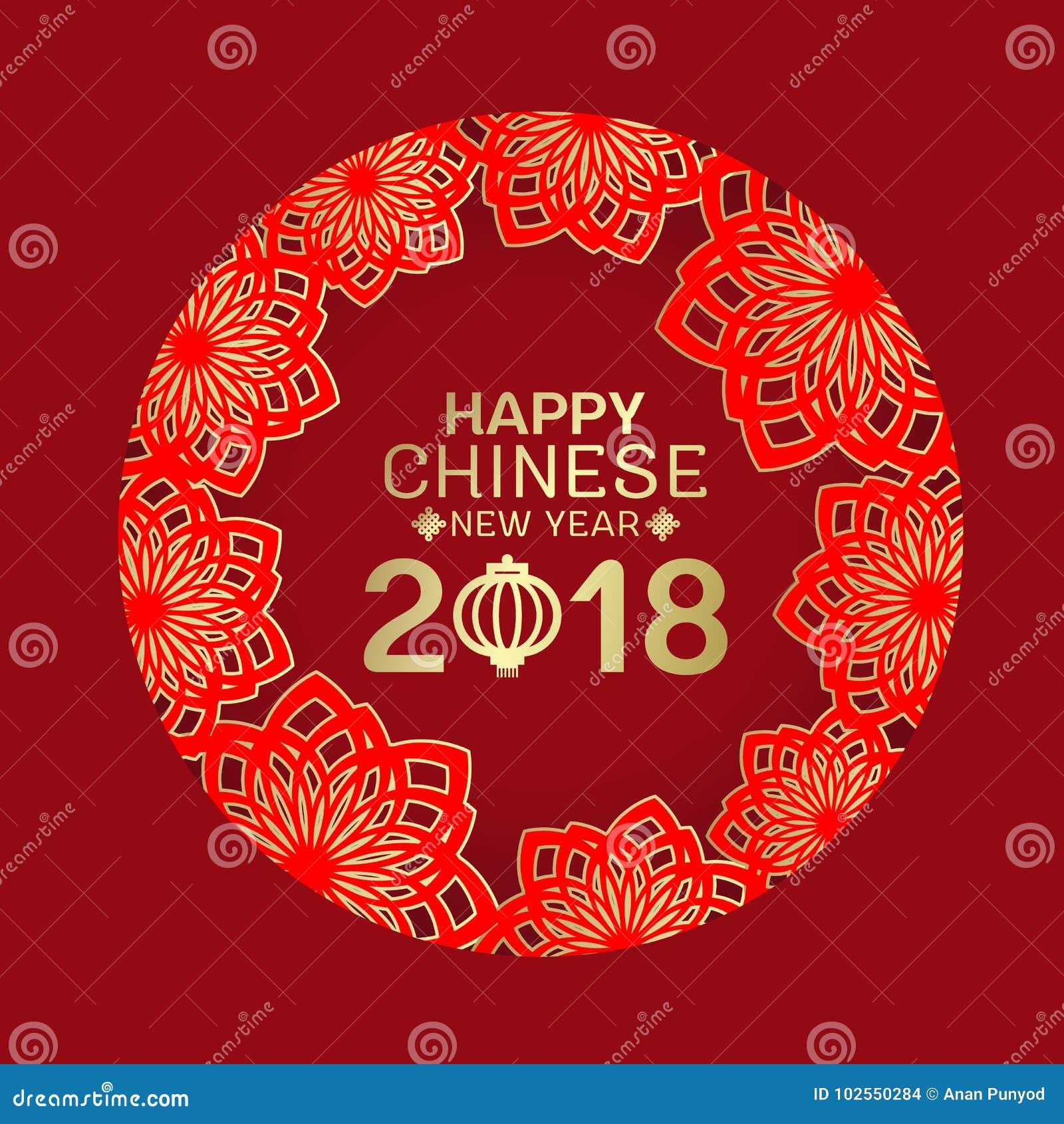 Ευτυχές κινεζικό νέο έτος 2018 και κείμενο φαναριών στο αφηρημένο κόκκινο και χρυσό πλαίσιο κύκλων λουλουδιών λωτού στο κόκκινο δ