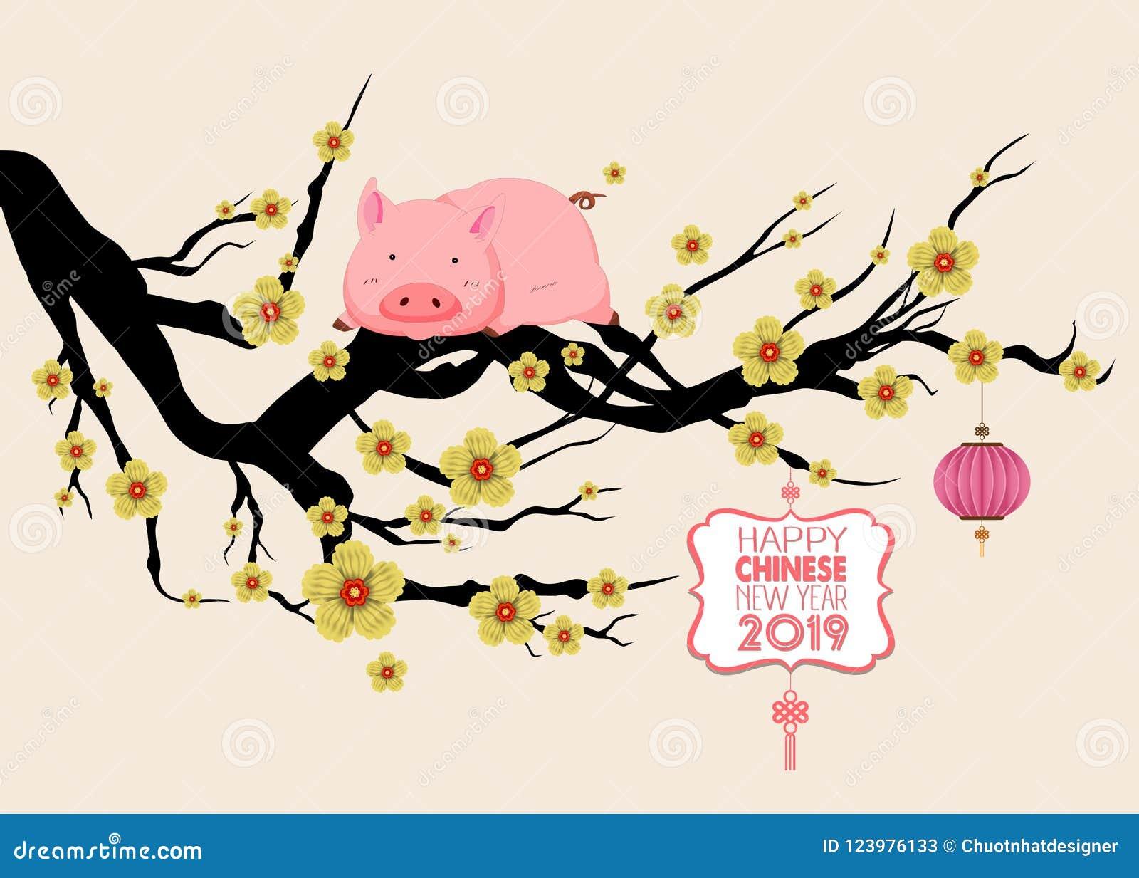 Ευτυχές κινεζικό νέο Zodiac έτους 2019 σημάδι με το χοίρο Οι κινεζικοί χαρακτήρες σημαίνουν καλή χρονιά