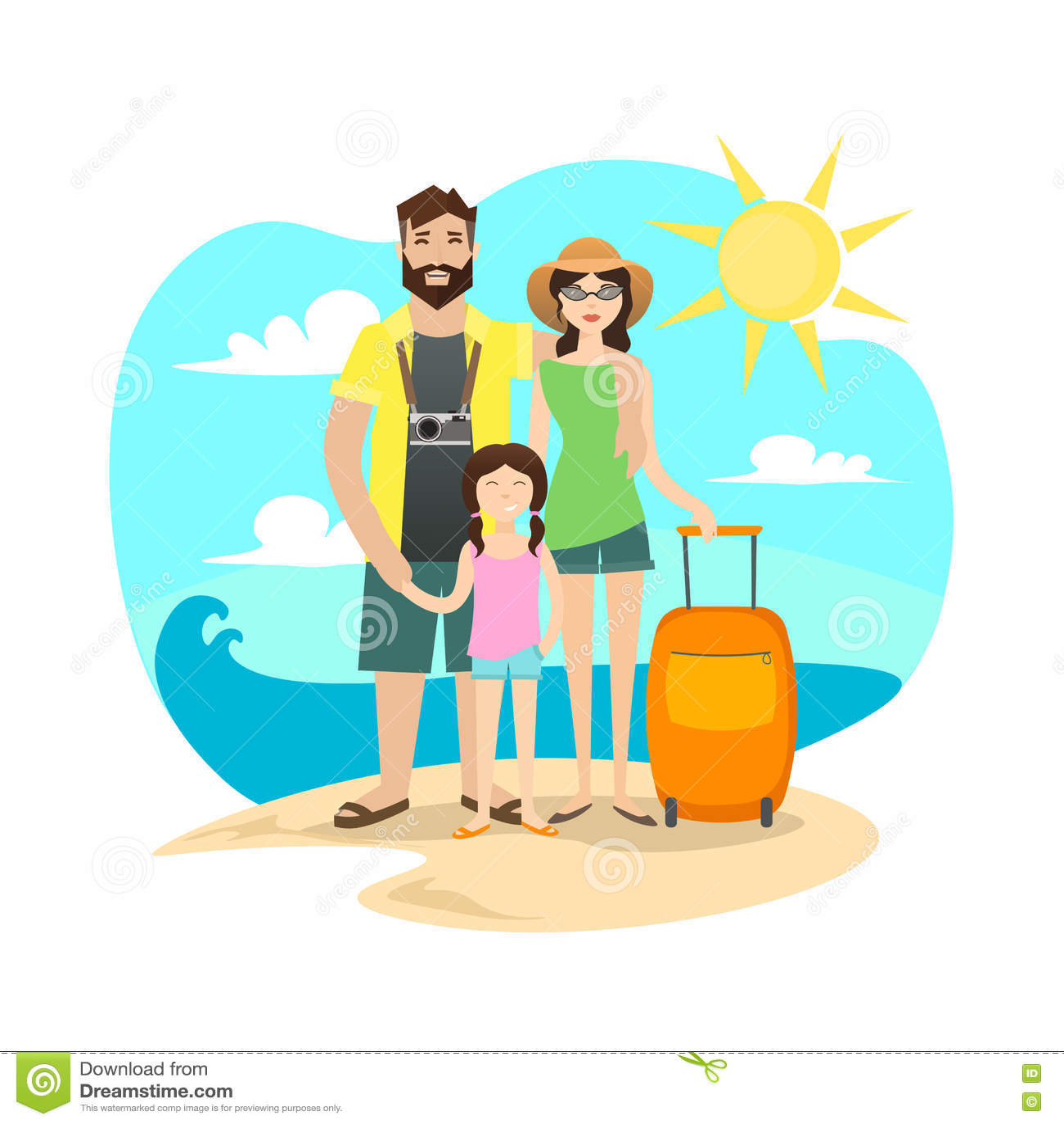 Ευτυχές οικογενειακό ταξίδι διάνυσμα